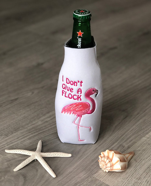 "Flamingo ""I Don't Give A Flock"" Zipper Bottle Coozie"