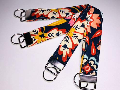 Navy Floral Key Fob | Navy Floral Wristlet | Navy Floral Key Chain