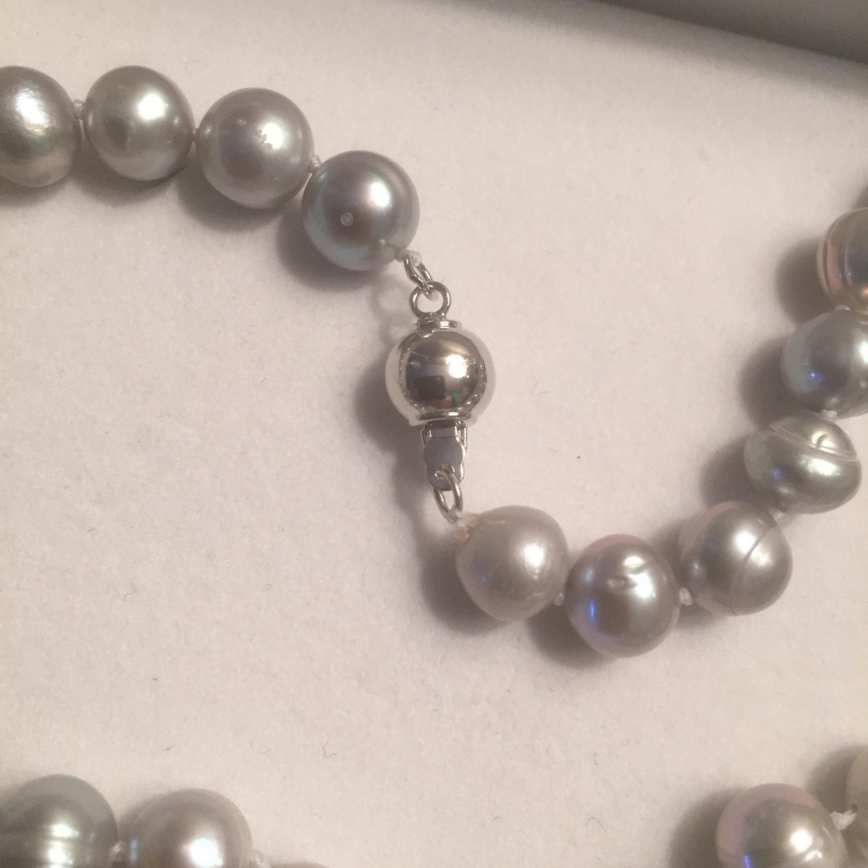 Grey Akoya Pearl Necklace 18inch 89mm