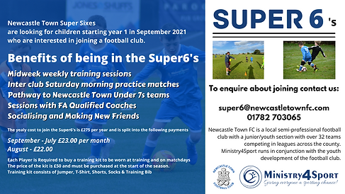 super 6 football at Newcastle Town FC