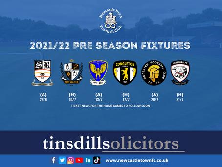 2021/22 Pre Season Fixtures