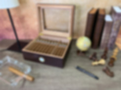 Brown Leather Weaving Handmade Cigar Humidor With Glass top