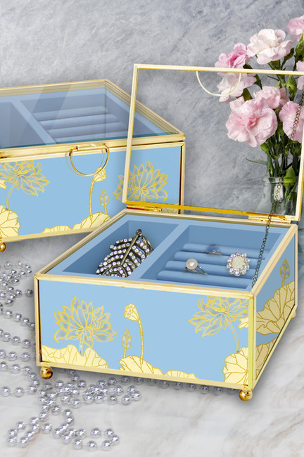 Water Lily Design Glass Jewelry Box With Metal Frame