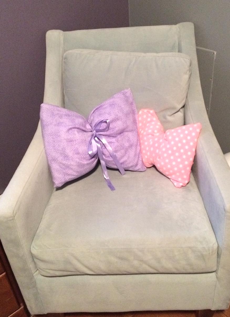 Maddie's new polk-a-dot pillows