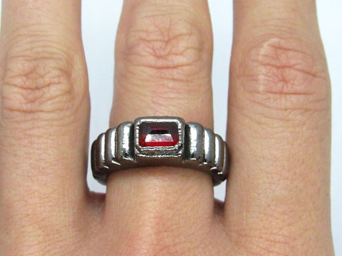 Black Rhodium Garnet Ring