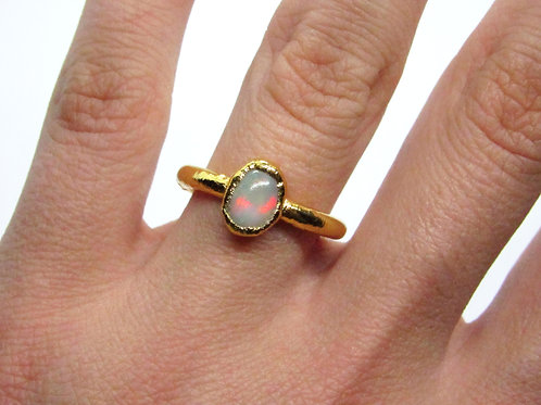 Fire Opal Small Oval Ring