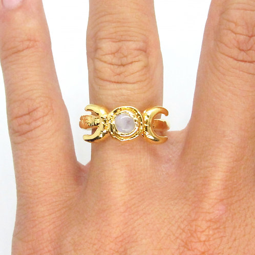Moonstone Double Moon Ring
