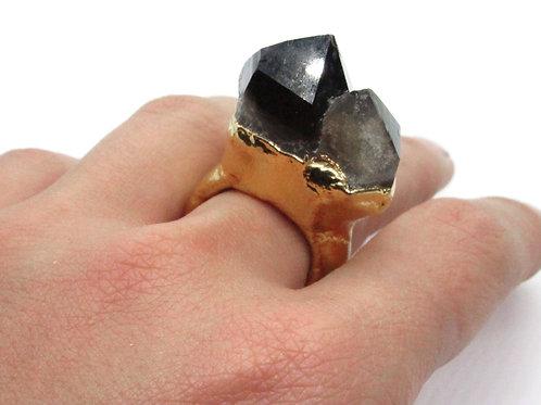 Double Point Smoky Quartz Ring