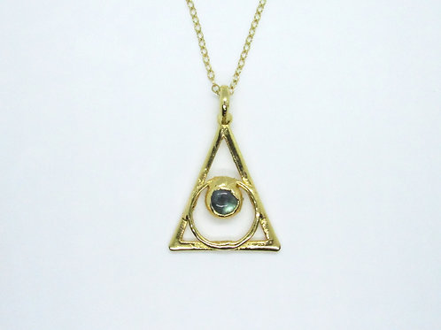 Triangle Circle Labradorite Necklace