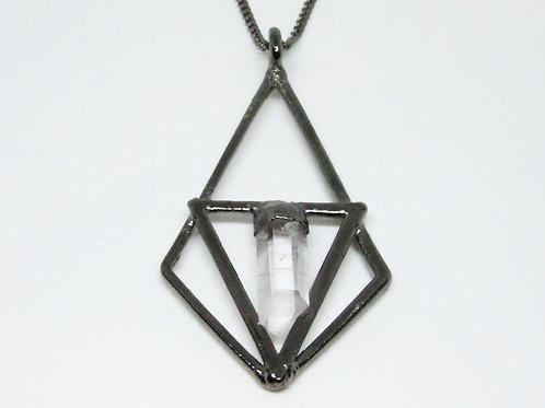 Tri Diamond Quartz Pendant