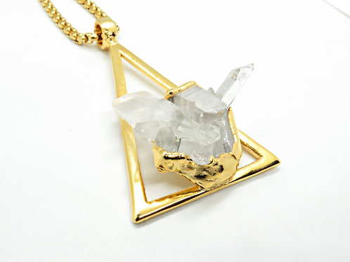 Triangle Quartz Cluster Necklace