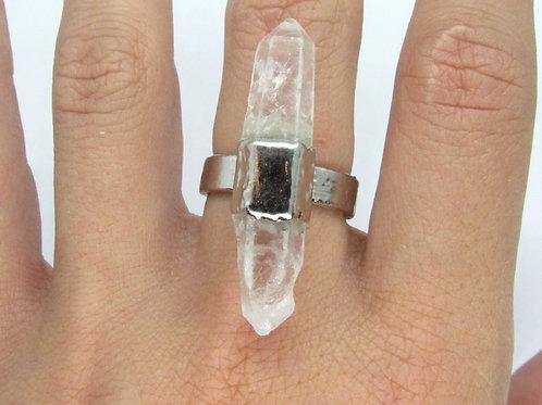 Rhodium Quartz Point Ring