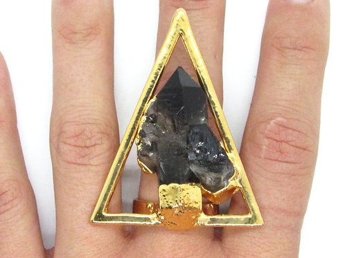 Smoky Quartz Triangle Ring