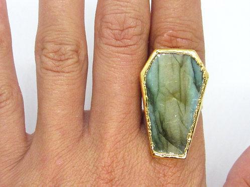 Labradorite Coffin Ring