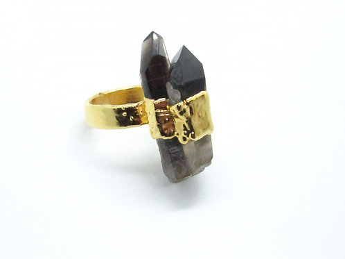 Double Smoky Crystal Ring