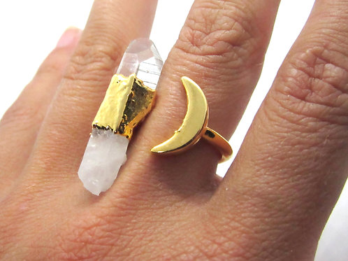 Crystal Moon Ring