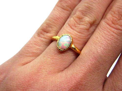 Fire Opal Teardrop Ring