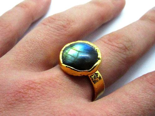 Large Round Labradorite Ring