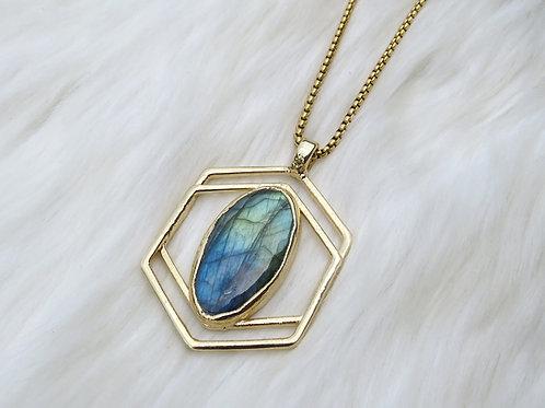 Double Hexagon Labradorite Necklace