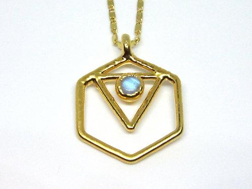 Tri Hex Labradorite Necklace