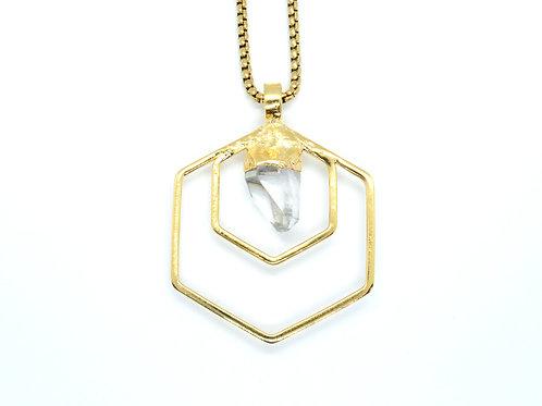 Double Hex Quartz Necklace