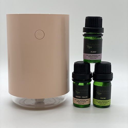 Portable Diffuser & Set Of 3 Night Essential Oil Blends