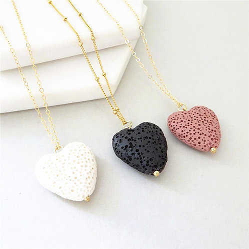 Heart Shaped Lava Necklace Essential oil Diffuser