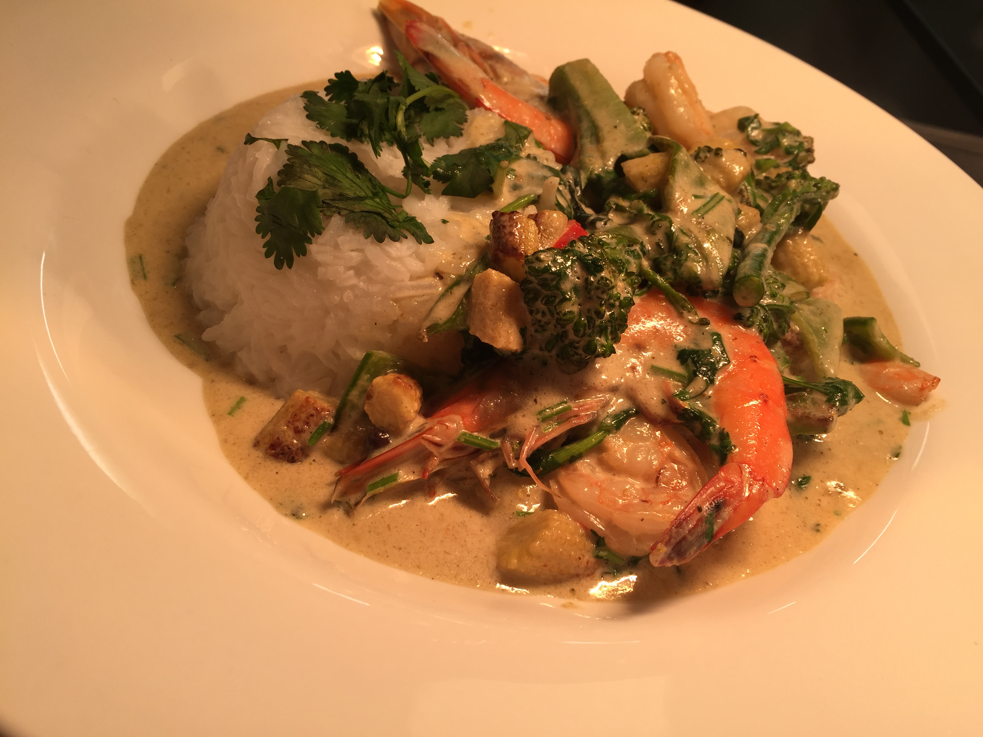 Green Thai King prawn curry