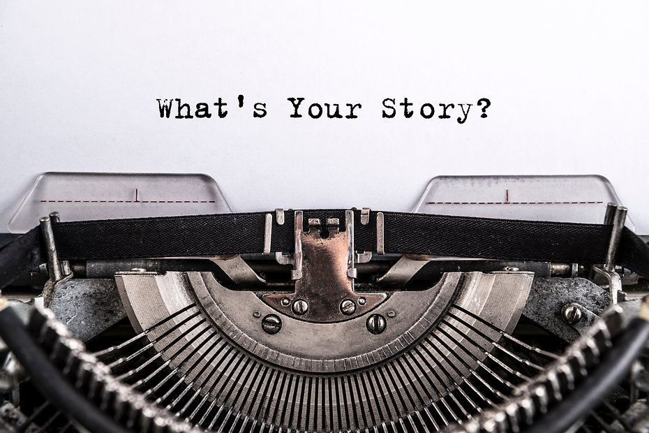 what's your story? The text is typed on