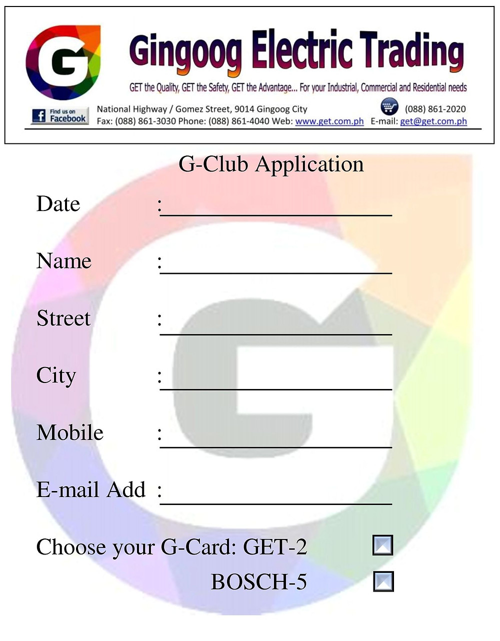 Choose your G-Card or GET them both