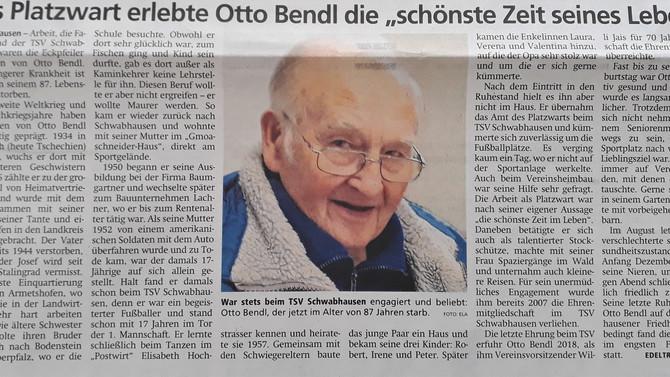 """Als Platzwart erlebte Otto Bendl """"die schönste Zeit seine Lebens"""""""