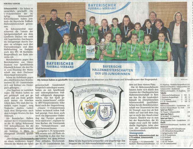 WIR GRATULIEREN: U15 Mädchen sind Bayerischer Hallenmeister 2019
