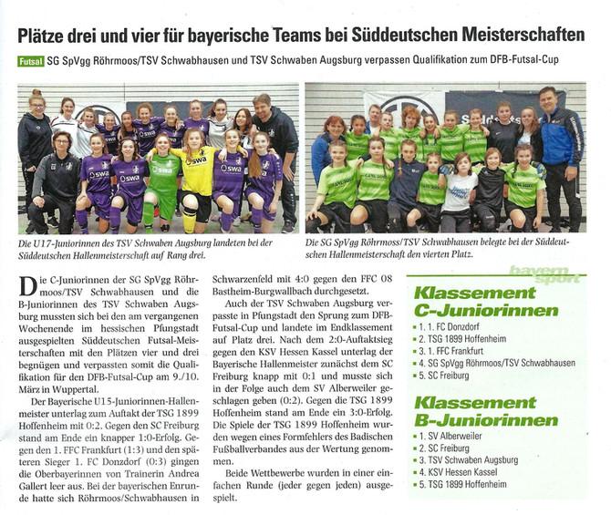 SÜDDEUTSCHE MEISTERSCHAFT: U15 Fußball-Mädchen werden Vierter! Quali für den DFB-Futsal-Cup 2019 nur