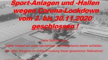 CORONA-LOCKDOWN - Schließung der Sportstätten des TSV ab 2.11.2020