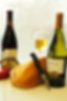 Still life picture of bread, cheese and wine as a fine art print for the wall of your home or office.