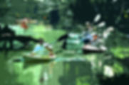 Digital representation of a group of kayakers following each other down the Hillsborogh River as a fine art print for the wall of your home or office.