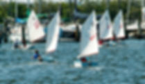 Picture of a dinghy race in the seaplane basin of Davis Islands, Florida as a fine art print for the wall of your home or office.