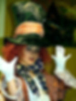 Picture of a young girl dressed up as the mad hatter for halloween as a fine art print for the wall of your home or office.