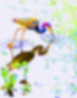 Picture of an abstract vision of a heron as a fine art nature print for the wall of your home or office.