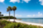 Picture of the swimming beach at Picnic Island Park in Port Tampa, Florida as a fine art print for the wall of your home or office.