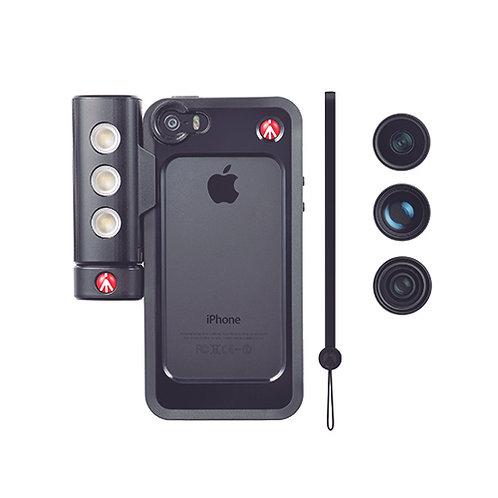 Kit Protector Negro iphone 5/5S+lentes+lámpara LED