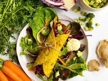 Wrap de potiron avec son effiloché de boeuf et ses légumes.