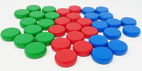 Crokinole 78 - x36 Palets Rouge-Vert-Bleu / x36 Discs RGB