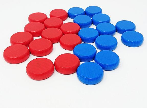 Crokinole 78 - x24 Palets Rouge-Bleu / x24 Discs RB