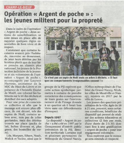 Opération Argent de Poche : les jeunes militent pour la propreté