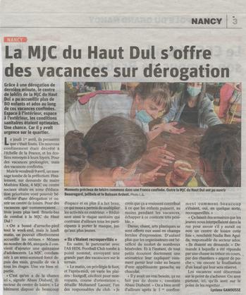 La MJC du Haut Dul s'offre des vacances sur dérogation