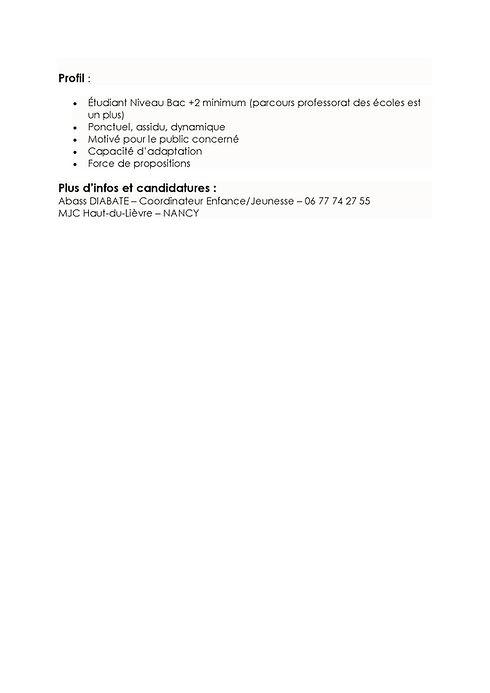 Offre d'emploi animateur/trice périscolaire