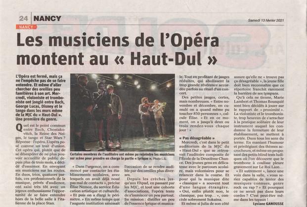 """Les Musicens de l'Opéra montent au """"Haut-Dul"""""""