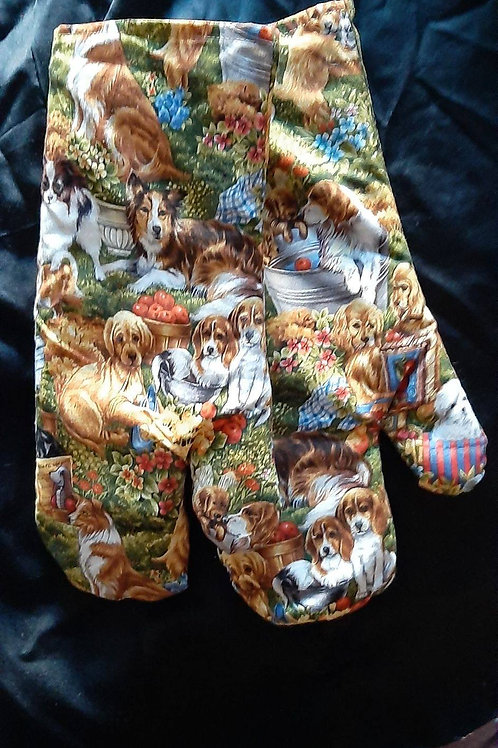 Puppies and dogs oven mittens