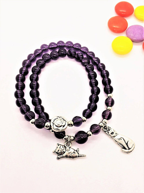 Bracelet with two cat